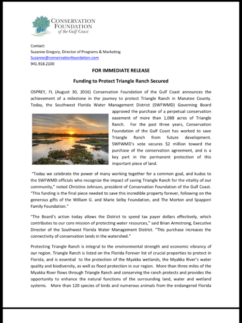 A great achievement in keeping our Sarasota Gulf Coast a beautiful place to shoot!